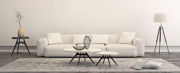 modern minimalist style penthouse living room - eingangsbereich teppich stock-fotos und bilder