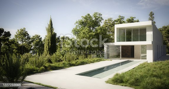 Digitally generated contemporary fashionable villa with a minimalist design.  The scene was rendered with photorealistic shaders and lighting in Corona Renderer 5 for Autodesk® 3ds Max 2020 with some post-production added.
