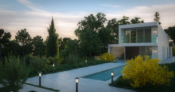 Digitally generated contemporary fashionable villa with a minimalist design at dusk.\n\nThe scene was rendered with photorealistic shaders and lighting in Corona Renderer 5 for Autodesk® 3ds Max 2020 with some post-production added.