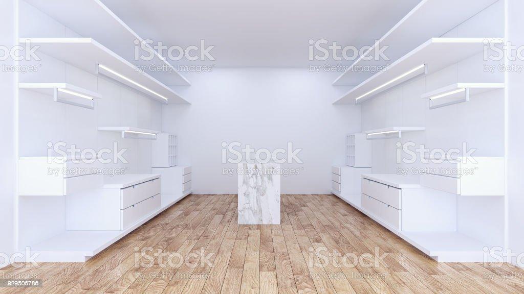 Modern Minimalist Walk In Closet With White Wardrobe Interior Design,empty  Room ,wood Floor
