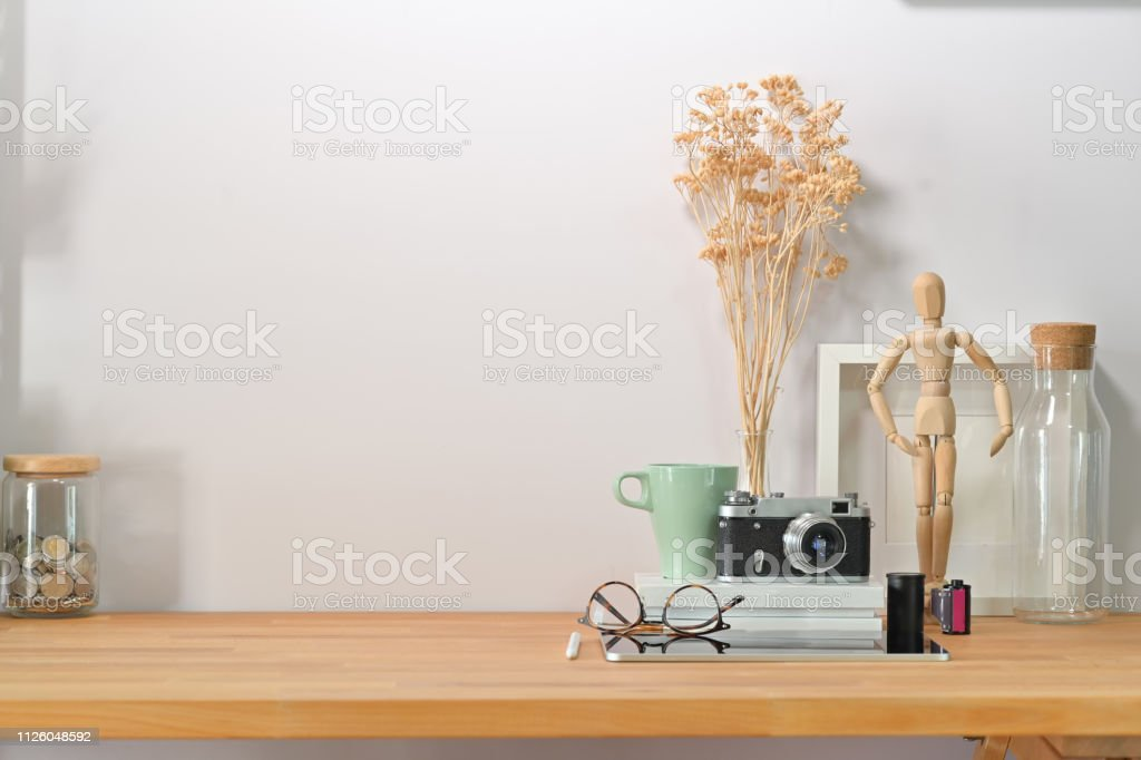 Modern minimalist workspace desk and copy space