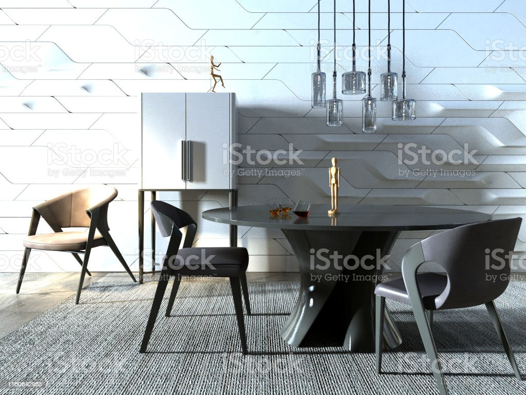 Modern minimalist workspace with desk and chair against white wall....