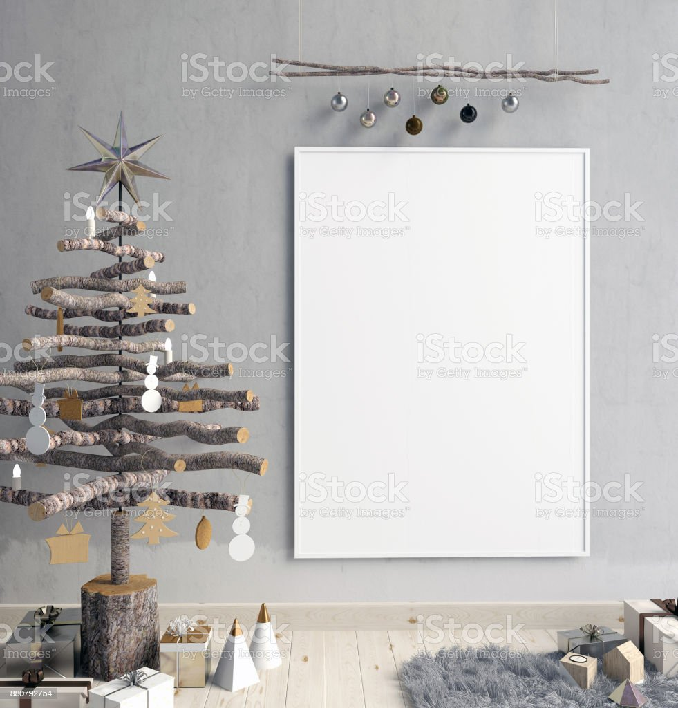 Modern minimalistic Christmas interior, Scandinavian style. 3D illustration. poster mock up stock photo