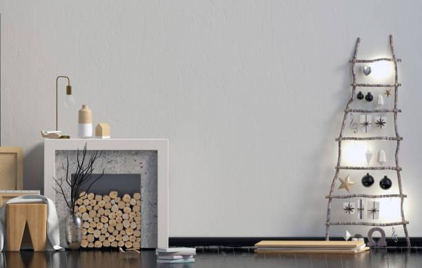moderne minimalistische weihnachten interieur, skandinavischen stil. 3d illustration. mock-up wand - kamin weiß stock-fotos und bilder