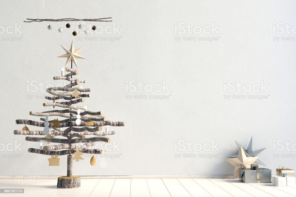 Modern minimalistic Christmas interior, Scandinavian style. 3D illustration. wall mock up stock photo
