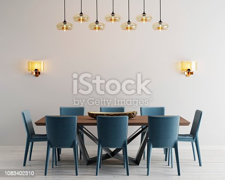 Modern minimalistic dining room interior with beige empty walls, a concrete table with blue chairs near it. 3d rendering