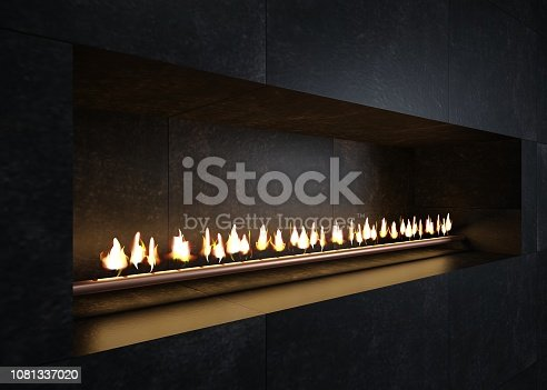 3d illustration. Modern fireplace in the interior in the style of minimalism or loft. Kitchen or stove grill. Heating technology