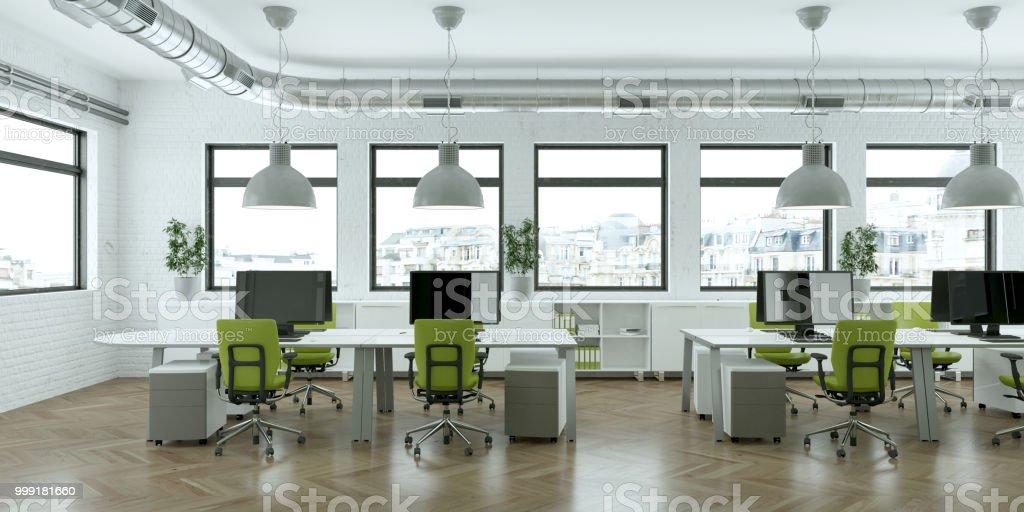 modern large minimalistic green office interior Design 3d Rendering...