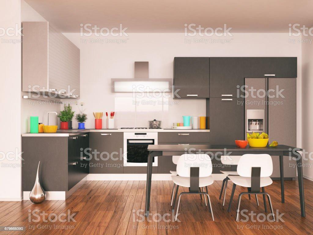Modern minimalistic kitchen stock photo