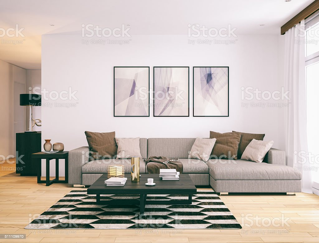 Modern minimalistic living room. stock photo