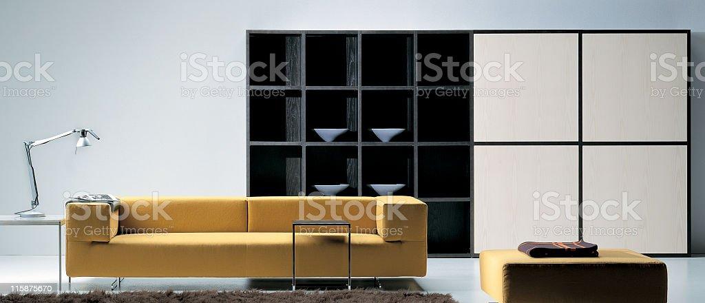 Modern minimalistic style living room interior royalty-free stock photo