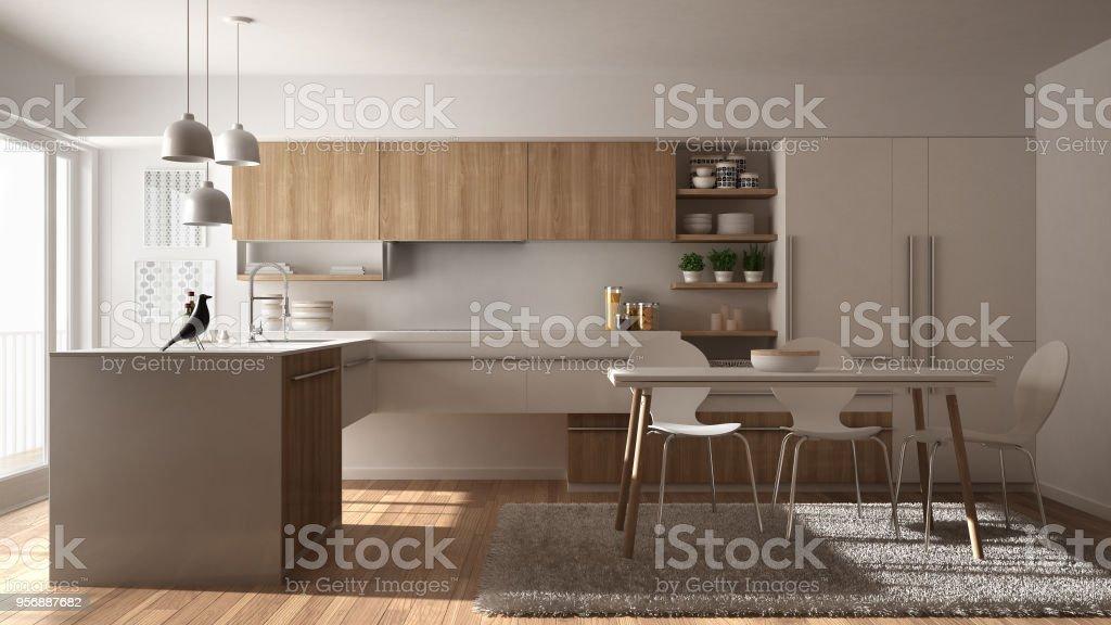 Cocina Moderna De Madera Minimalista Con Mesa De Comedor ...