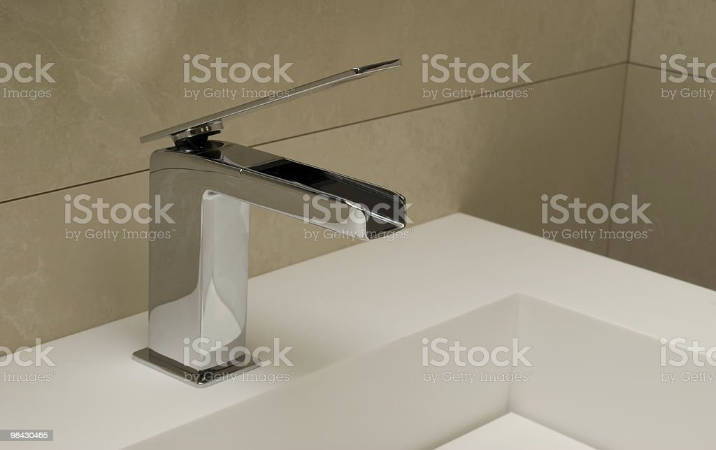 Modern mixer for a washstand royalty-free stock photo