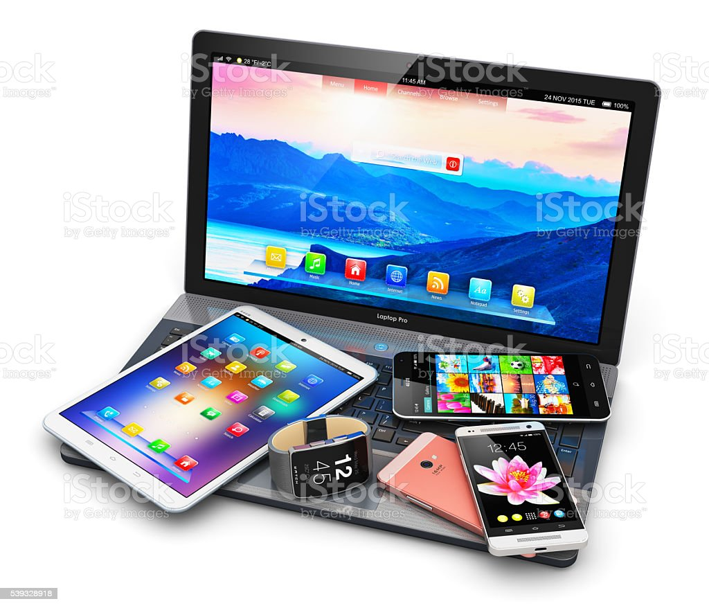 Modern mobile devices stock photo
