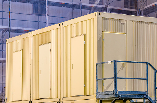 modern mobile home container in a row