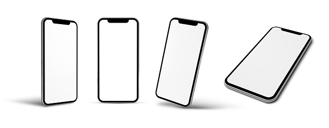 modern mobile phone mockup with four positions 3d rendering