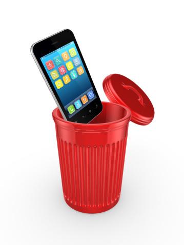 Moderne Handy In Den Papierkorb Stockfoto und mehr Bilder von Ausrüstung und Geräte