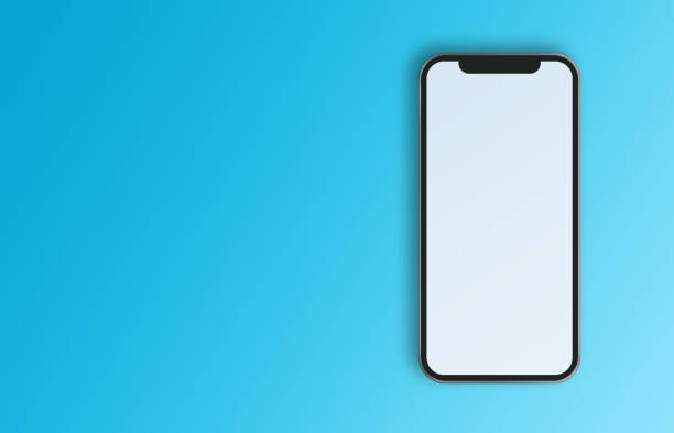 Modern Mobile Phone on Blue Background stock photo