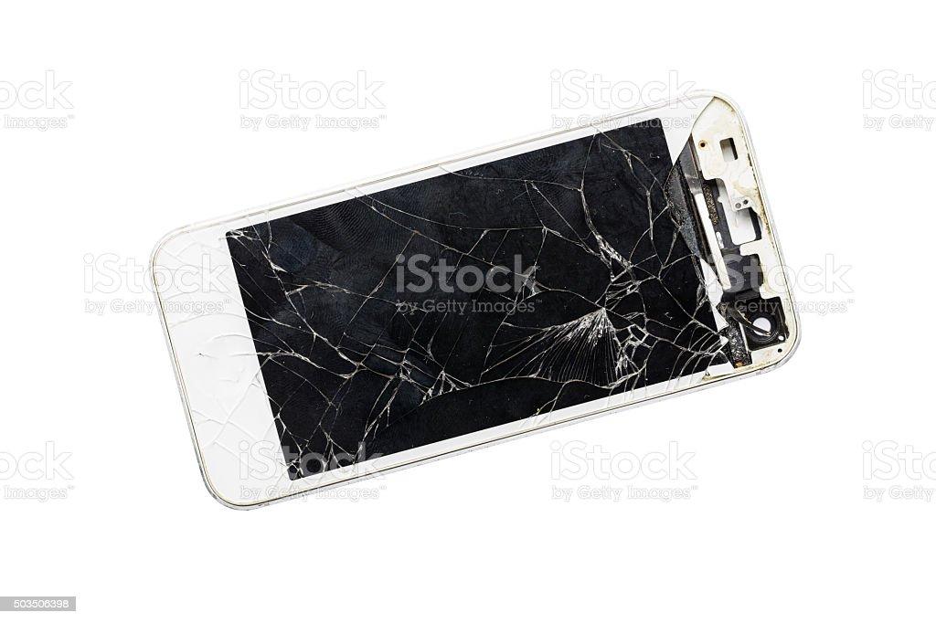 Moderna Con Mobile Smartphone Rotto Schermo Isolato Su Sfondo Bianco