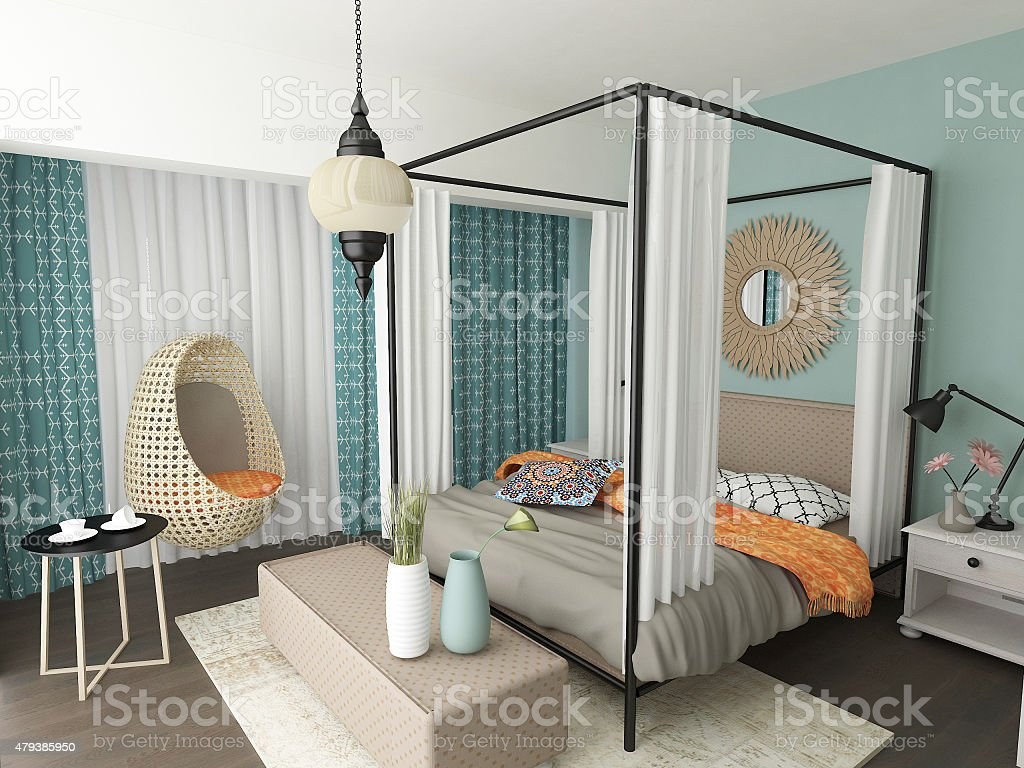 . Modern Moroccan Bedroom Interior Design Stock Photo   Download Image