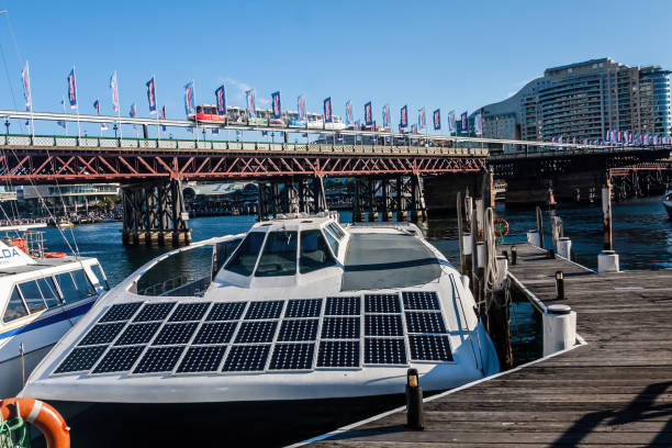 A modern motor boat with solar panels stock photo