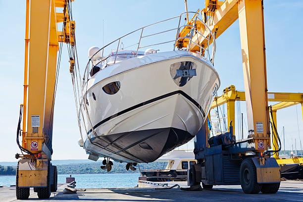 modern motor yacht launch stock photo