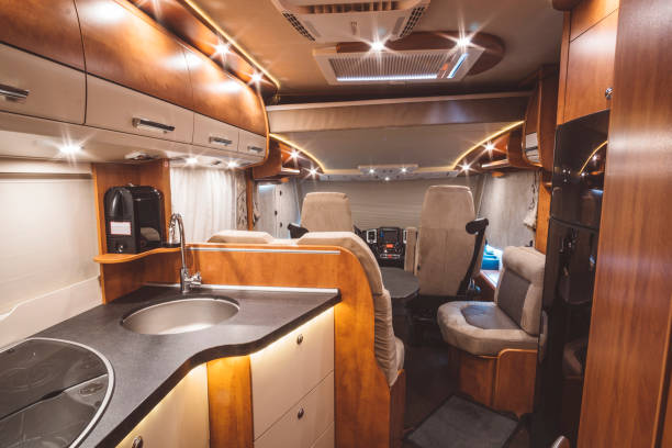 Modern motorhome on the inside Modern motorhome on the inside rv interior stock pictures, royalty-free photos & images