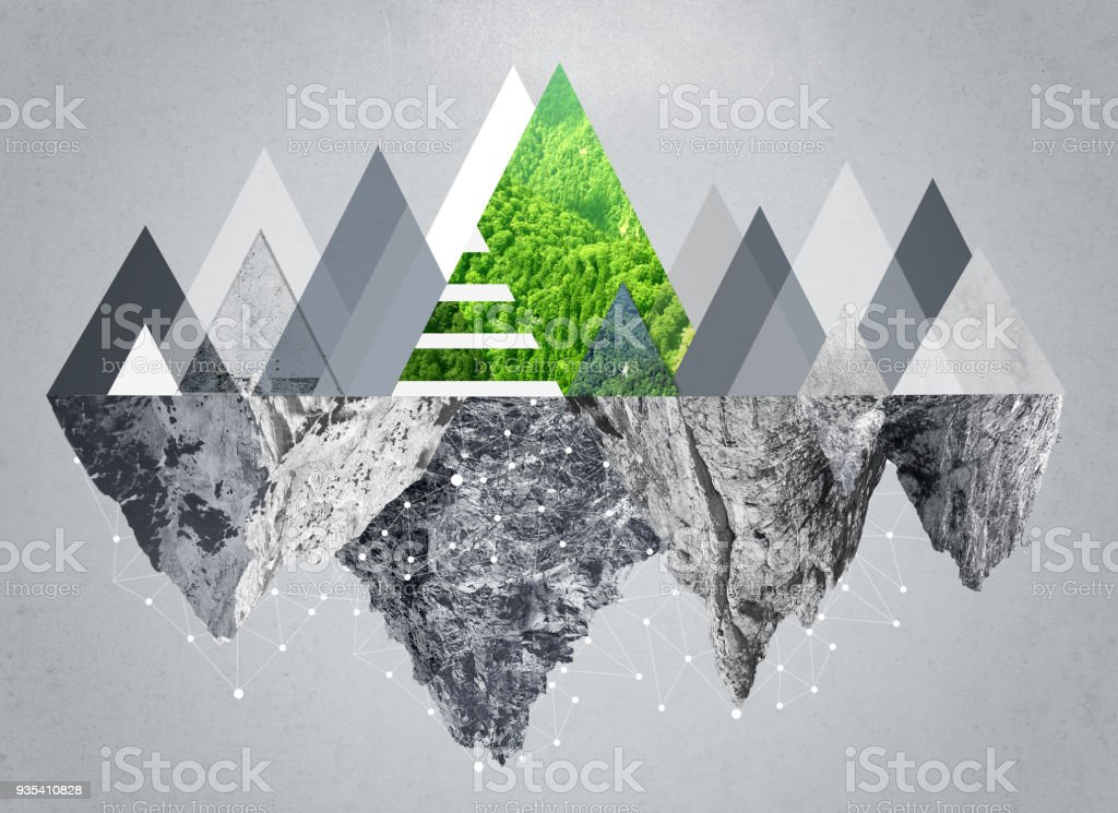 Modern mountain image grey tone and green stock photo