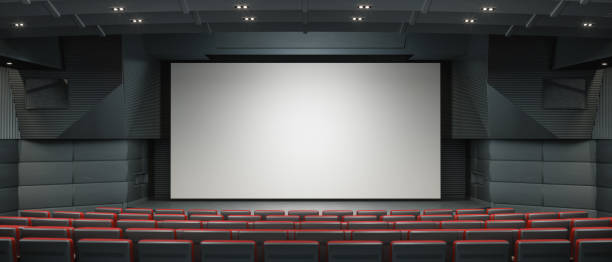 modern movie thearter - projection screen stock photos and pictures
