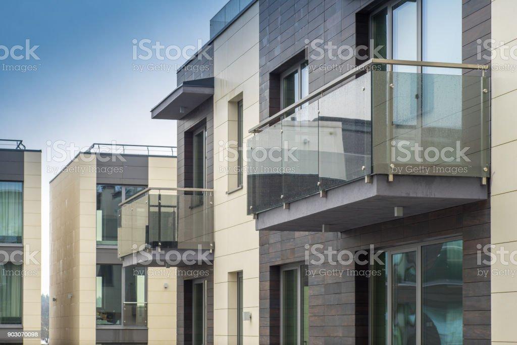 Modern multi-apartment complex. stock photo