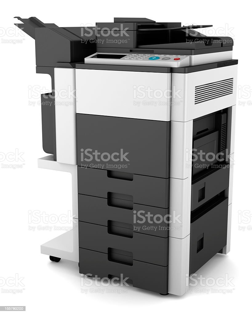 A modern multifunction printer in gray on white royalty-free stock photo
