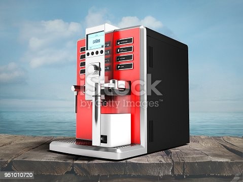 istock A modern multifunctional coffee machine with milk red from the bottom right 3d render on a sea background with a shadow 951010720