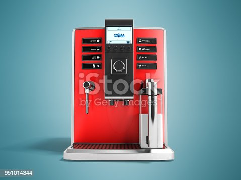 istock A modern multifunctional coffee machine with milk red front 3d rendering on blue background with shadow 951014344