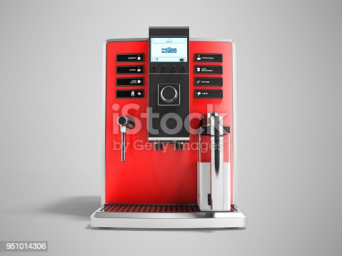 istock A modern multifunctional coffee machine with milk red front 3d rendering on gray background with shadow 951014306