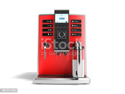 istock A modern multifunctional coffee machine with milk red front 3d rendering on white background with shadow 951014284