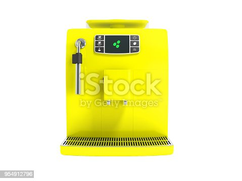 istock Modern multifunctional cooker with a water tank for two cups yellow in front 3d render on white background no shadow 954912796