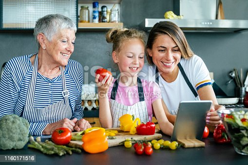 638984280 istock photo Modern multi-generation family in the kitchen 1160171516