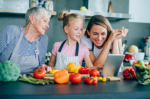 638984280 istock photo Modern multi-generation family in the kitchen 1169206298