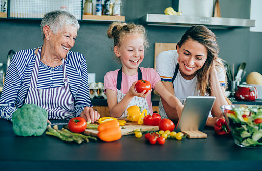 638984280 istock photo Modern multi-generation family in the kitchen 1199024740