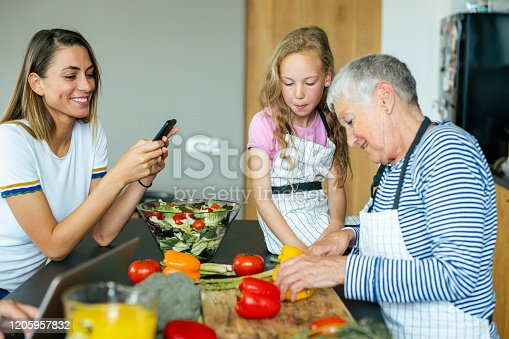 638984280 istock photo Modern multi-generation family in the kitchen 1205957832