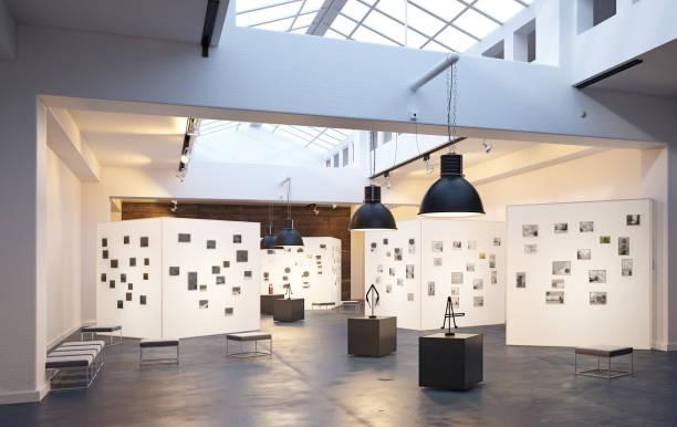 modern museum  interior - museu imagens e fotografias de stock