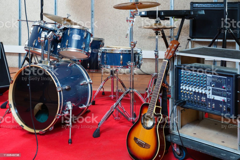 Modern fashionable stylish music instruments and equipments for rock...