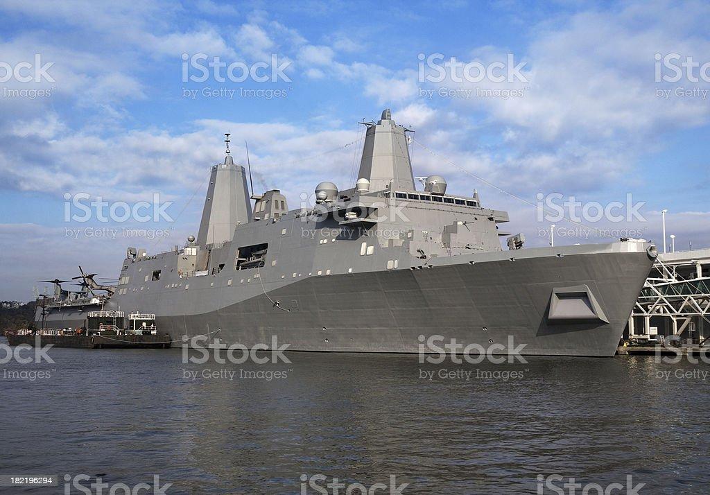 Modern Navy warship USS New York stock photo