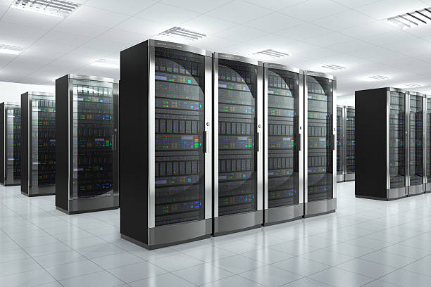 modern network servers in a datacenter - mainframe stock pictures, royalty-free photos & images