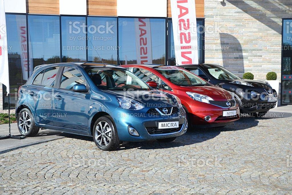 Modern Nissan vehicles stock photo