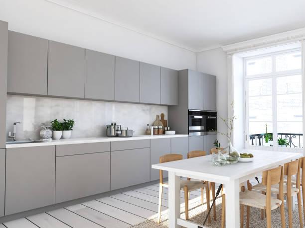 loft daire modern i̇skandinav mutfakta. 3d render - ev mutfağı stok fotoğraflar ve resimler