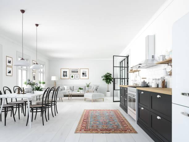 loft daire modern i̇skandinav mutfakta. 3d render - i̇skandinav kültürü stok fotoğraflar ve resimler