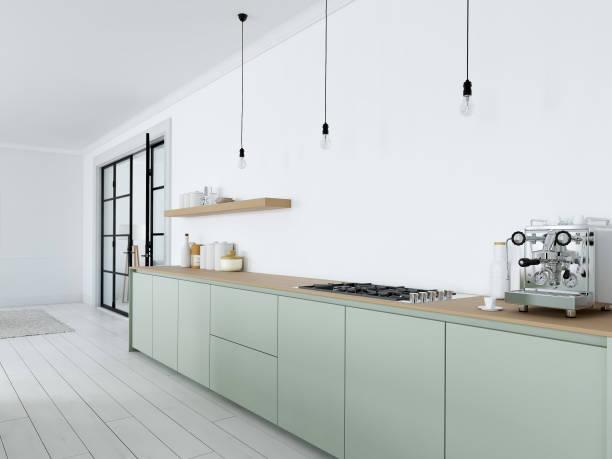 moderne nordische küche in loft-wohnung. 3d-rendering - küche deko grün stock-fotos und bilder