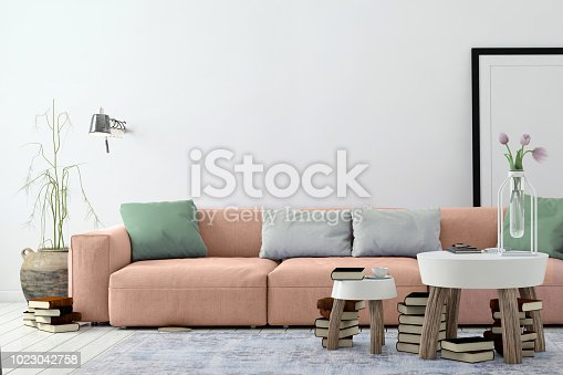 istock Modern Nordic living room interior with sofa and lots of details 1023042758