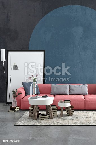 Modern Nordic Scandinavian styled apartment with pastel colored large sofa and picture frame template. Living room scenery with concrete textured wall, concrete floor with carpet, coffee table, electric lamp, plant, books and lots of other details. Copy space mock-up for designers.